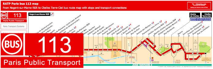 Paris Bus Line 113 Map With Stops