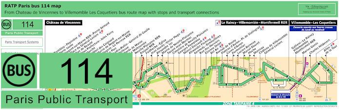 Paris Bus Line 114 Map With Stops