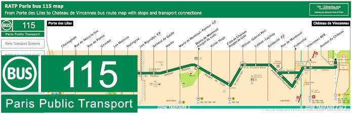 Paris Bus Line 115 Map With Stops