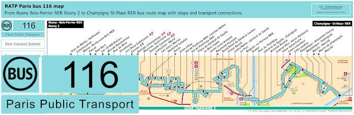Paris Bus Line 116 Map With Stops