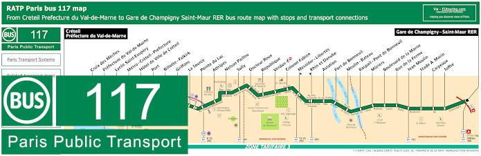 Paris Bus Line 117 Map With Stops