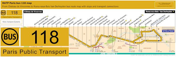Paris Bus Line 118 Map With Stops