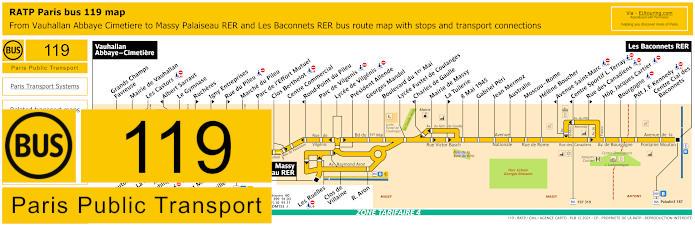 Paris Bus Line 119 Map With Stops