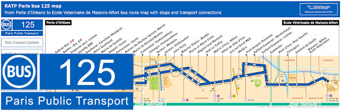 Paris Bus Line 125 Map With Stops