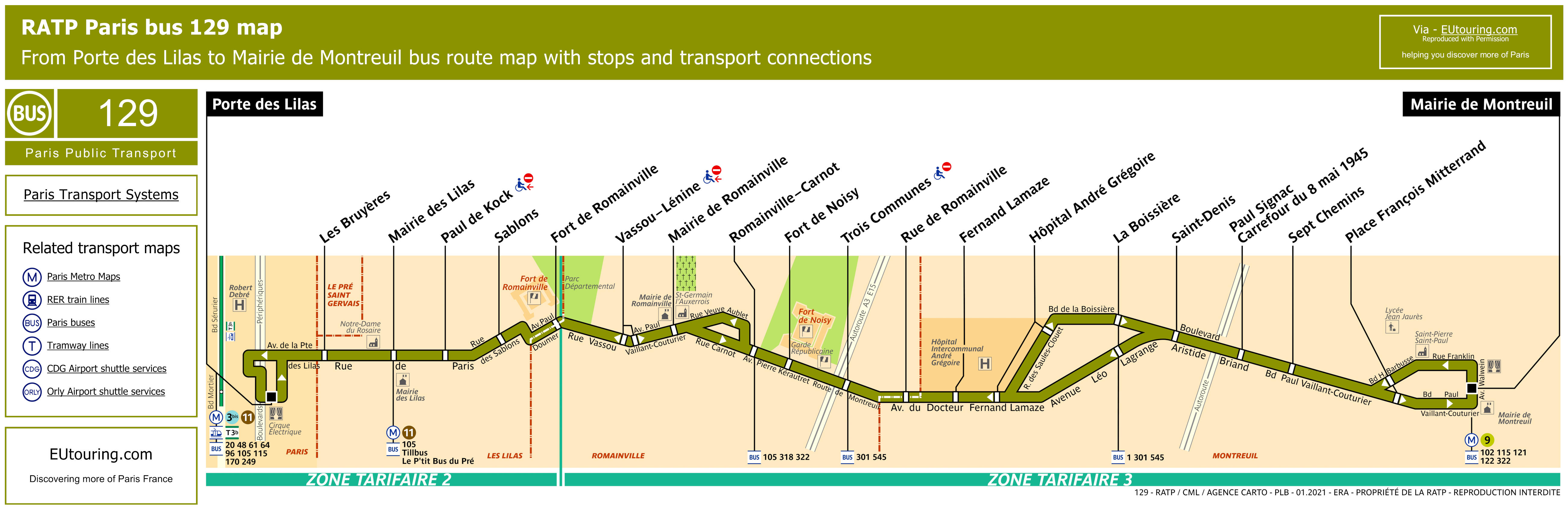 RATP Route Maps For Paris Bus Lines Through To - Map of us hwy 129