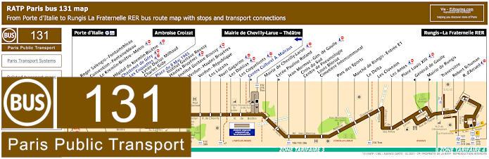 Paris Bus Line 131 Map With Stops