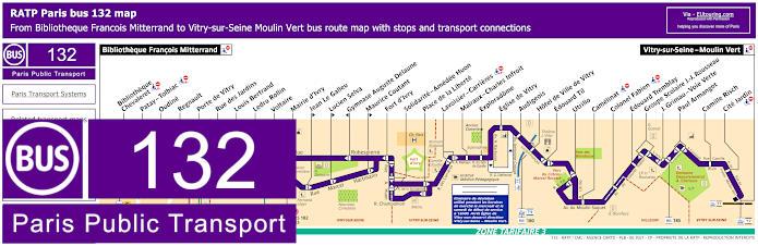 Paris Bus Line 132 Map With Stops