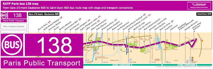 Paris Bus Line 138 Map With Stops