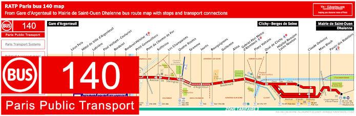 Paris Bus Line 140 Map With Stops