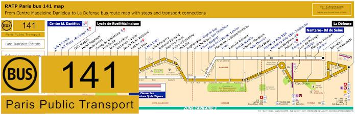 Paris Bus Line 141 Map With Stops