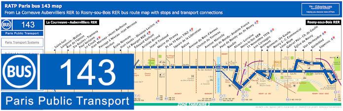 Paris Bus Line 143 Map With Stops