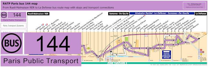 Paris Bus Line 144 Map With Stops