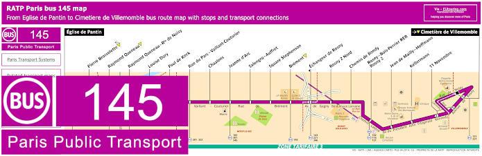 Paris Bus Line 145 Map With Stops