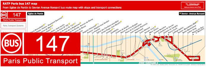 Paris Bus Line 147 Map With Stops
