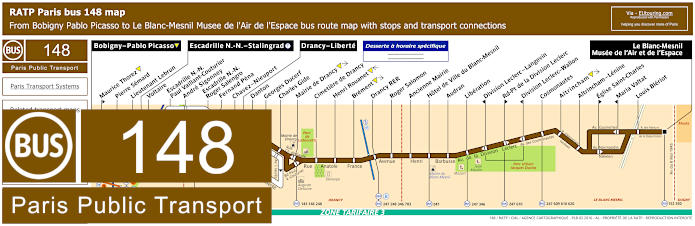 Paris Bus Line 148 Map With Stops