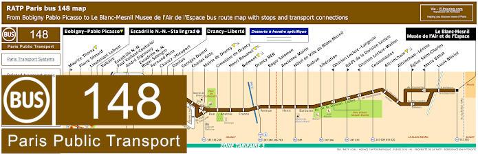 Paris Bus Line 148 Map With Stops