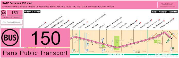 Paris Bus Line 150 Map With Stops