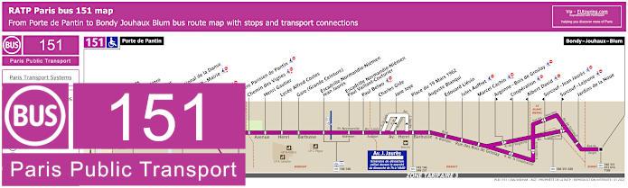 Paris Bus Line 151 Map With Stops