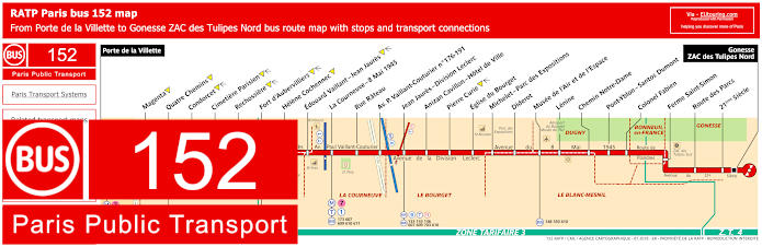 Paris Bus Line 152 Map With Stops
