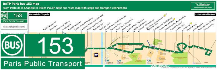 Paris Bus Line 153 Map With Stops
