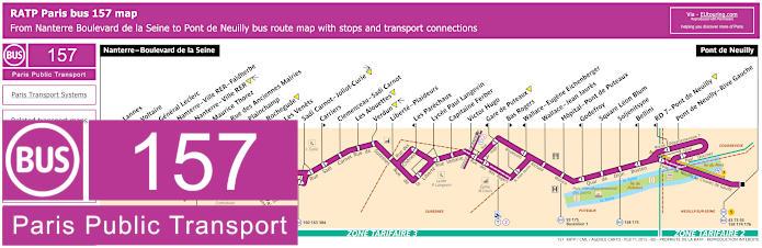 Paris Bus Line 157 Map With Stops