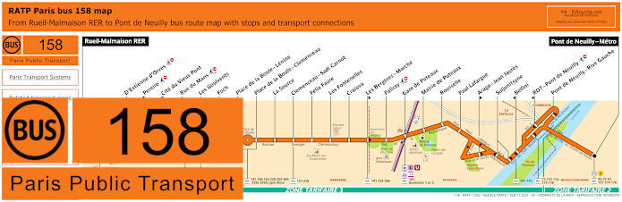 Paris Bus Line 158 Map With Stops