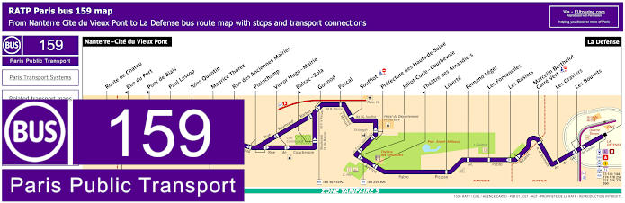 Paris Bus Line 159 Map With Stops