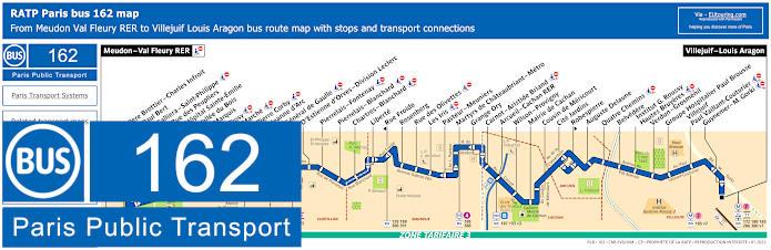 Paris Bus Line 162 Map With Stops
