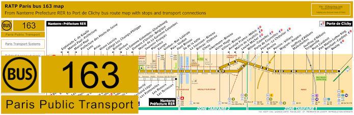 Paris Bus Line 163 Map With Stops