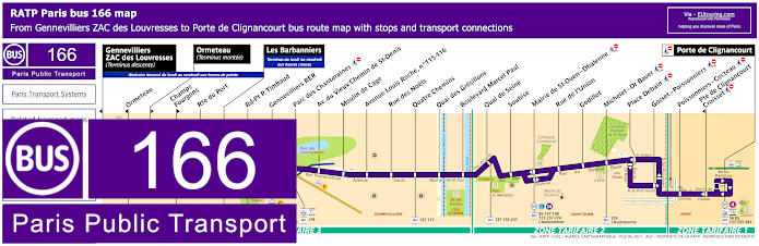 Paris Bus Line 166 Map With Stops