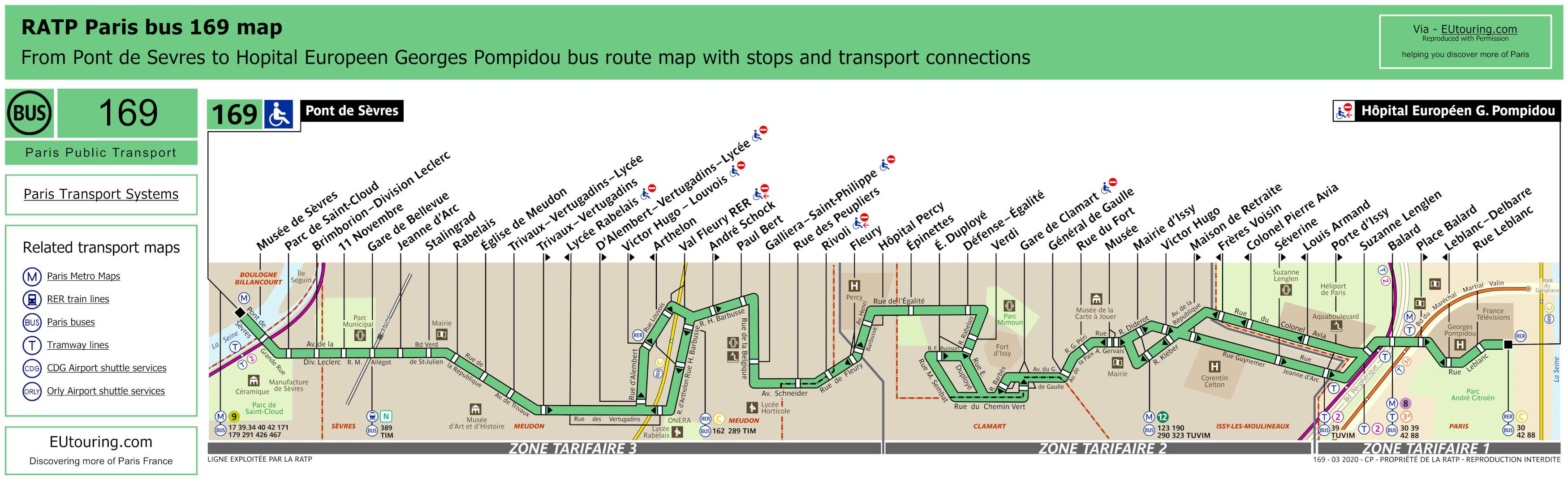 Ratp Bus Maps Timetables For Paris Bus Lines 160 To 169