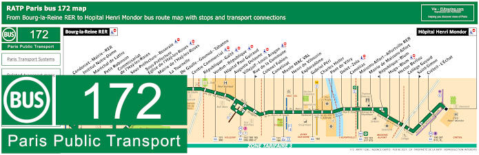 Paris Bus Line 172 Map With Stops