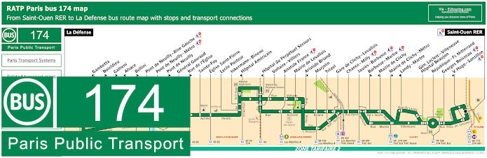 Paris Bus Line 174 Map With Stops