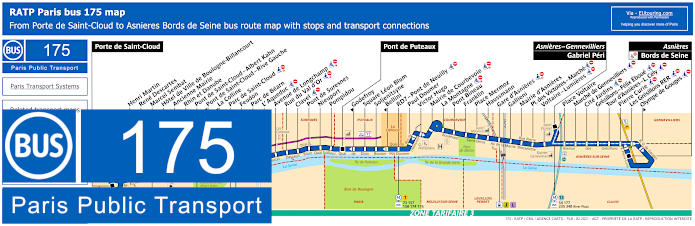 Paris Bus Line 175 Map With Stops