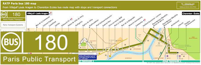 Paris Bus Line 180 Map With Stops