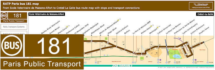 Paris Bus Line 181 Map With Stops