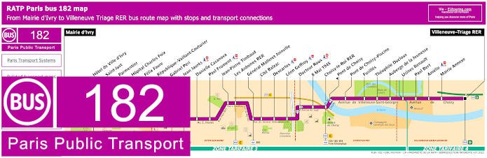Paris Bus Line 182 Map With Stops
