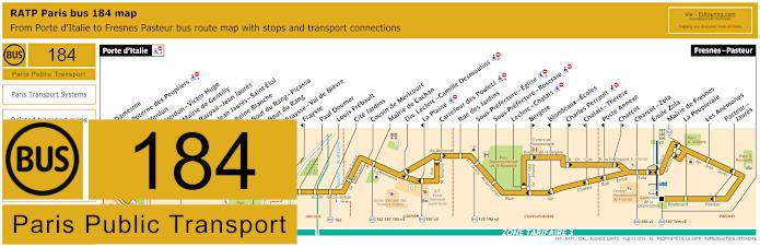 Paris Bus Line 184 Map With Stops