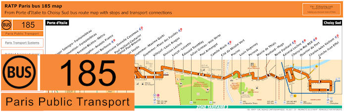 Paris Bus Line 185 Map With Stops