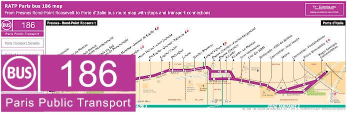 Paris Bus Line 186 Map With Stops