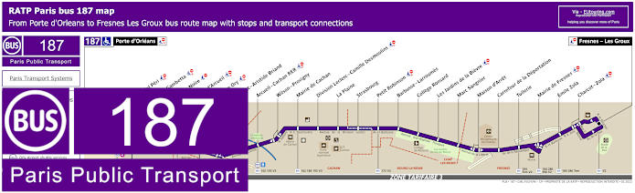 Paris Bus Line 187 Map With Stops