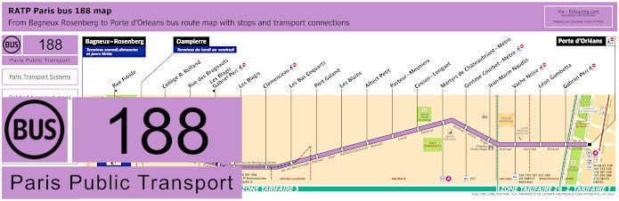 Paris Bus Line 188 Map With Stops