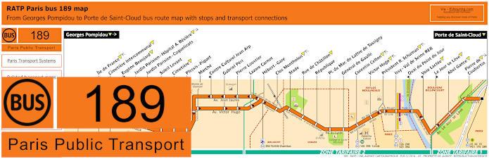 Paris Bus Line 189 Map With Stops