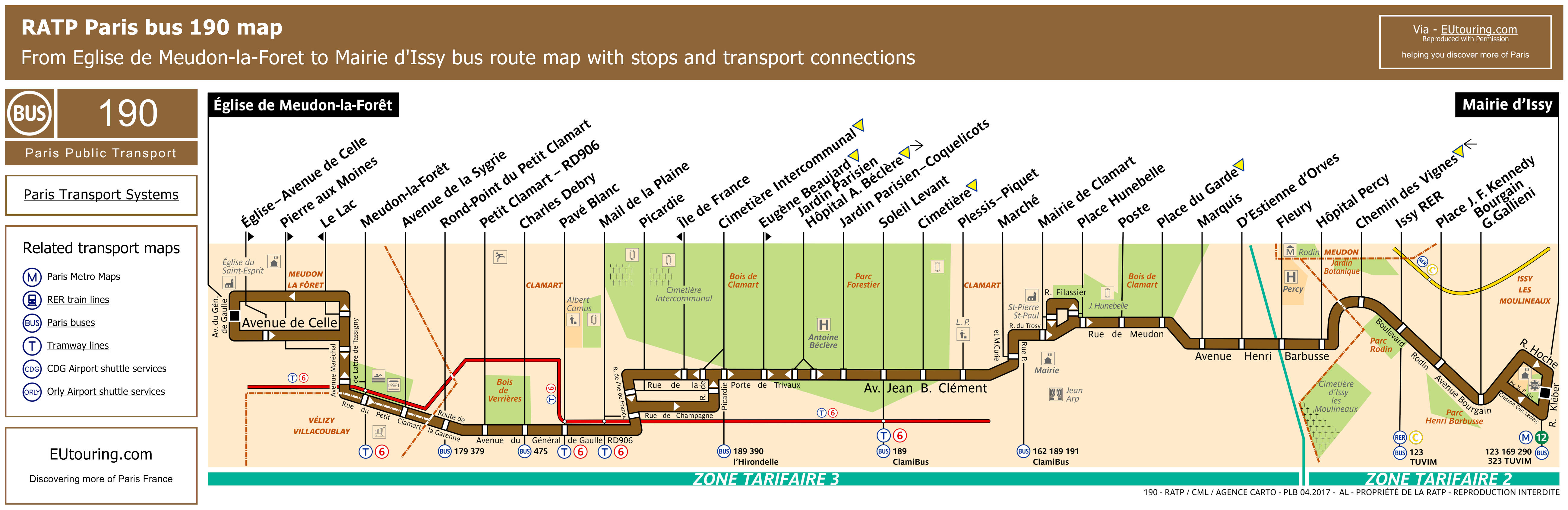 RATP bus maps, timetables for Paris bus lines 190 to 199