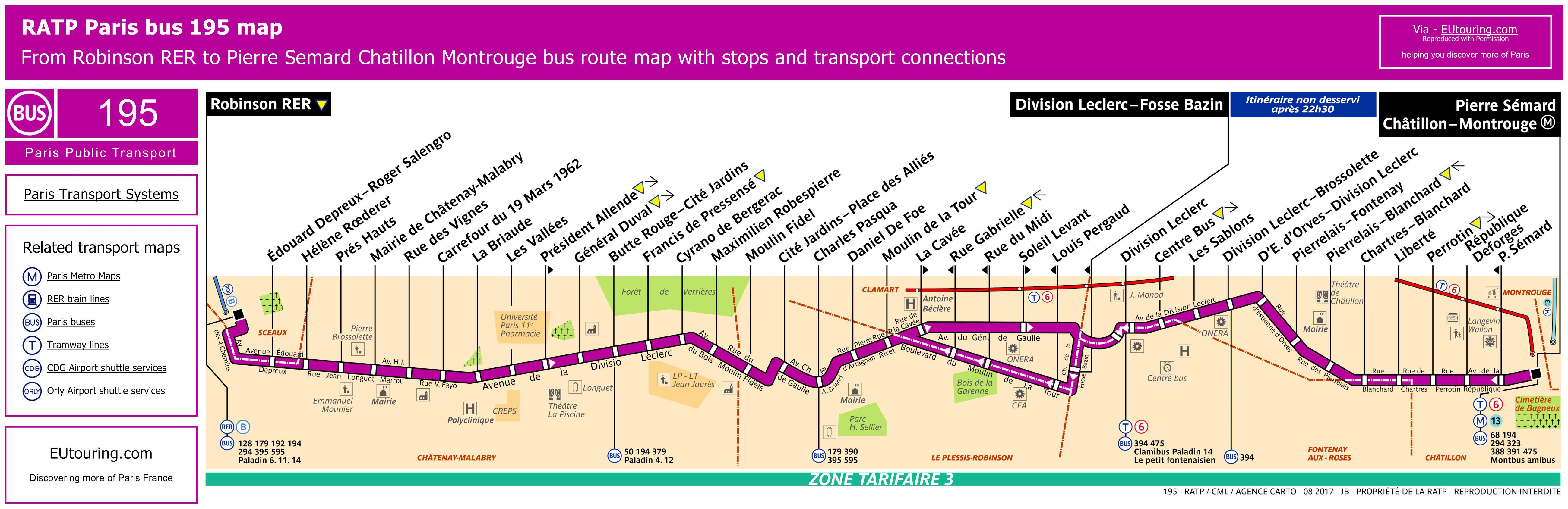 Ratp Bus Maps Timetables For Paris Bus Lines 190 To 199