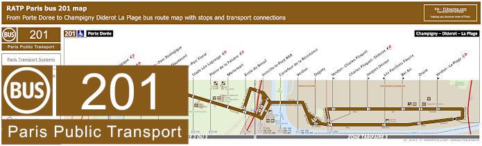 Paris Bus Line 201 Map With Stops