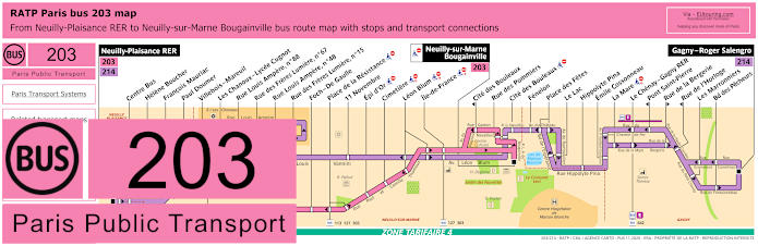 Paris Bus Line 203 Map With Stops