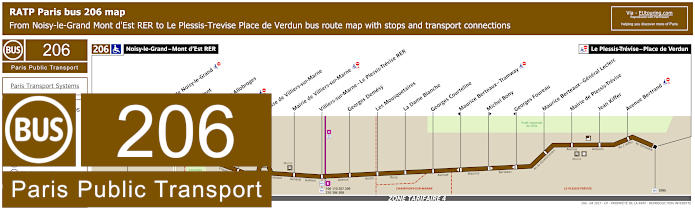 Paris Bus Line 206 Map With Stops