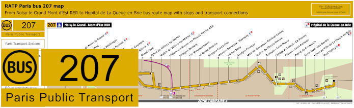 Paris Bus Line 207 Map With Stops