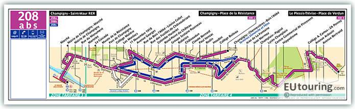 Paris Bus Line 208 Map With Stops